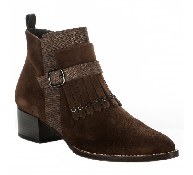 Boots femme - AMARU - Marron cognac