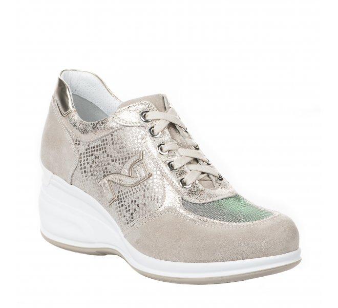 Baskets mode femme - NEROGIARDINI - Beige dore