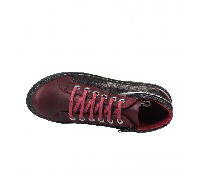 Baskets mode femme - CHACAL - Rouge bordeaux
