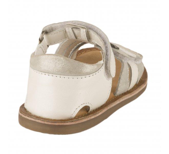 Nu-pieds fille - KICKERS - Blanc argent