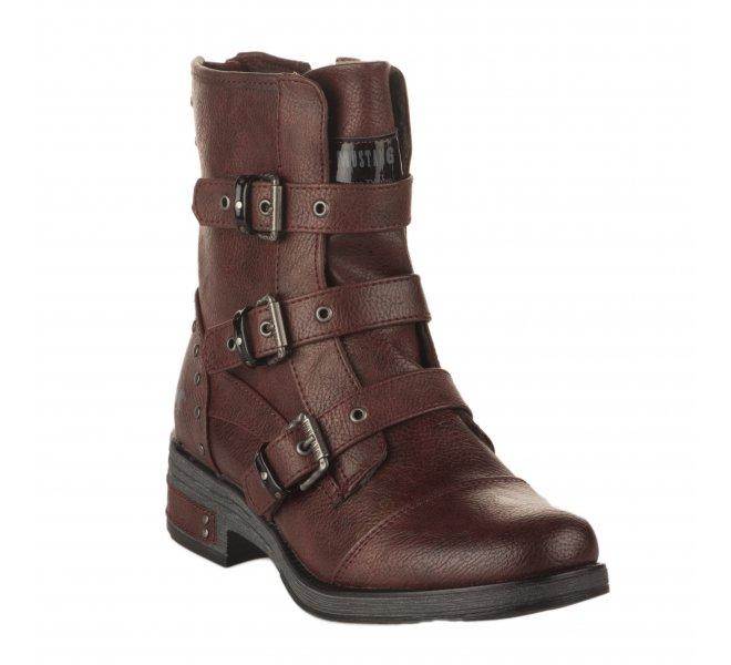 Boots femme - MUSTANG - Rouge bordeaux