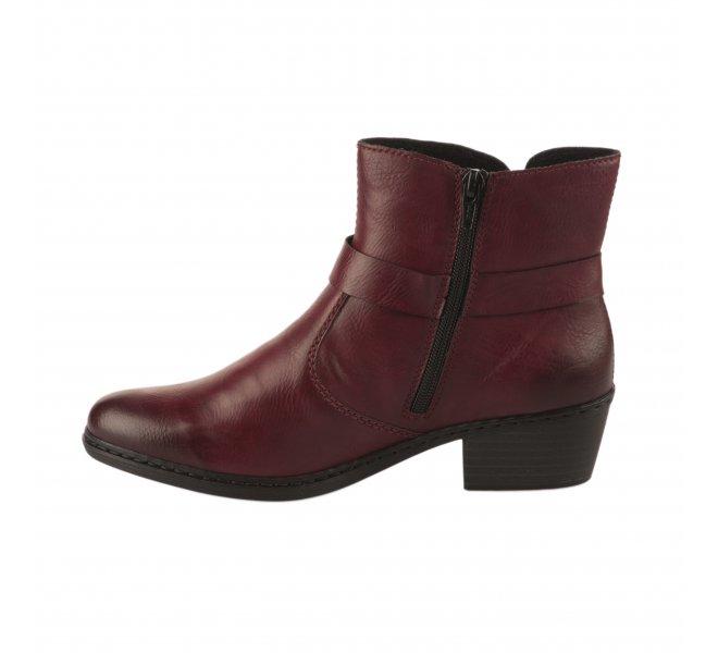 Boots femme - RIEKER - Rouge bordeaux