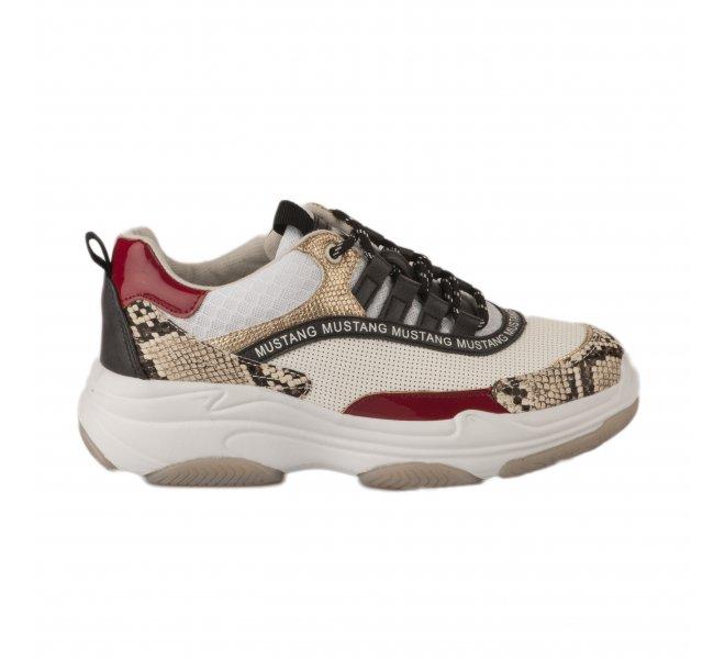 Baskets mode femme - MUSTANG - Blanc casse
