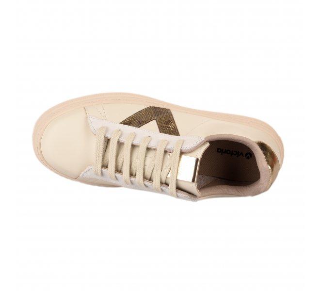 Baskets mode fille - VICTORIA - Blanc casse