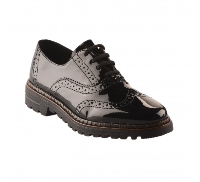 Chaussures à lacets femme - RIEKER - Noir verni