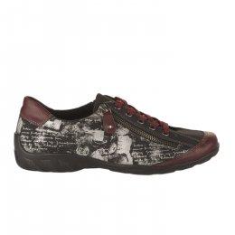 Chaussures à lacets femme - REMONTE - Rouge bordeaux