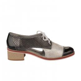 Chaussures à lacets femme - UN TOUR EN VILLE - Noir verni