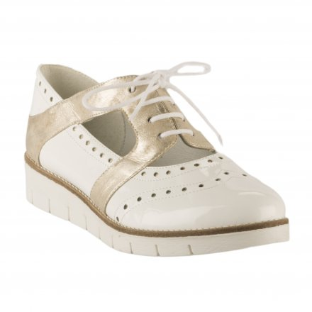 26cb97db4ef174 ... Chaussures à lacets femme - GEO REINO - Blanc verni