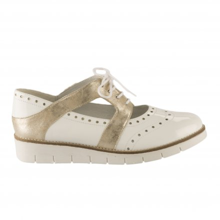34851be5571cde Chaussures à lacets femme - GEO REINO - Blanc verni ...
