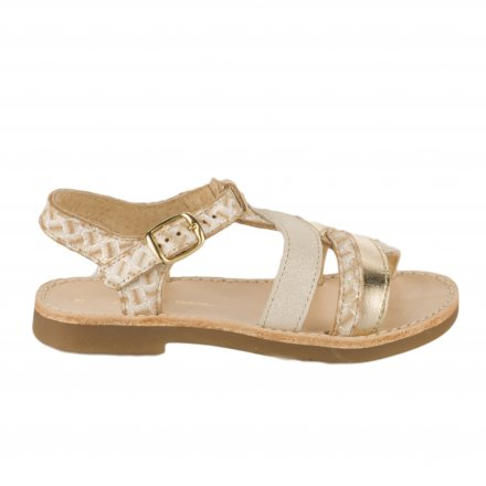 7b3831be8adfe Nu-pieds fille - CHAUSSMOME - Beige dore ...
